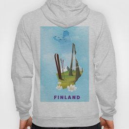 Finland map travel poster. Hoody