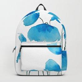 blue poppy field watercolor Backpack