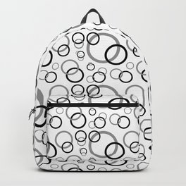 Black Gray Geometric Circle Backpack