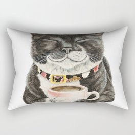 Purrfect Morning , cat with her coffee cup Rectangular Pillow