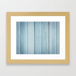 Texture fence rough blue wood Framed Art Print