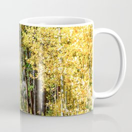 Yellow Tree Road // Hiking in the Forest Deep Into Autumn Colorful Trees Coffee Mug