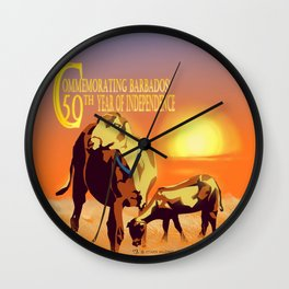 Barbados' Gold, Creatures of the Caribbean - Commemorating 50 Years of Independence Wall Clock