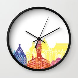 Lille skyline pop Wall Clock