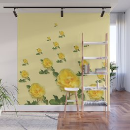 RAINING YELLOW ROSES COLLAGE ART Wall Mural