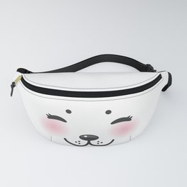 Kawaii funny albino animal white muzzle with pink cheeks and closed eyes Fanny Pack