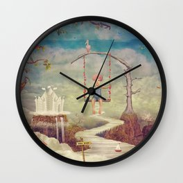 Mysterious city in sky Wall Clock
