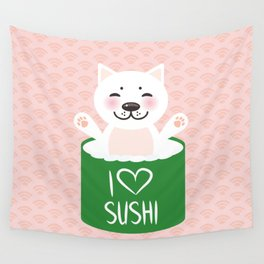 I love sushi. Kawaii funny sushi roll and white cute cat with pink cheeks, emoji. Pink background Wall Tapestry