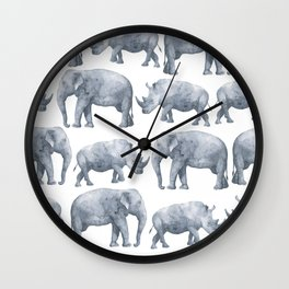 Rhino and elephant Wall Clock