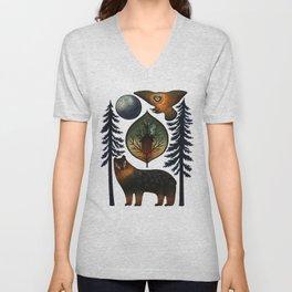 The Bear and the Barn Owl Unisex V-Neck