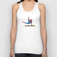 superhero Tank Tops featuring Acrobatic Superhero by Fadhil Zubir