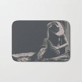 Cowgirl Sits in Country Shadows Bath Mat
