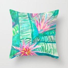 Pink Flowering Bromeliad Throw Pillow