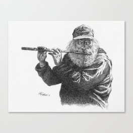 Flute Player Pen and Ink Canvas Print