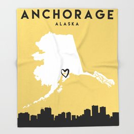 ANCHORAGE ALASKA LOVE CITY SILHOUETTE SKYLINE ART Throw Blanket