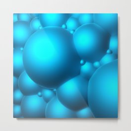 Blue Bubbles Metal Print