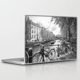 Bicycles parked on bridge over Amsterdam canal Laptop & iPad Skin