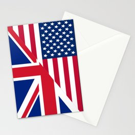 American and Union Jack Flag Stationery Cards