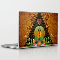 surfboard Laptop & iPad Skins featuring Surfboard with flowers  by nicky2342