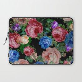 Floral pattern, blue roses,lisianthus.Black background  Laptop Sleeve