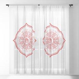 Root Chakra Mandala #04 Sheer Curtain