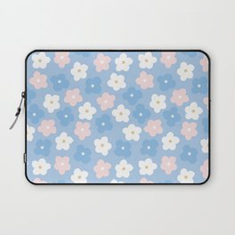 Pastel pink blue hand painted modern floral Laptop Sleeve