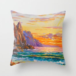 Sunset on the rocky shore Throw Pillow