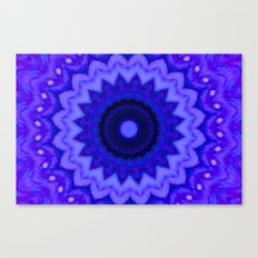 Lovely Healing Mandala  in Brilliant Colors: Black, Purple, and Blue Canvas Print