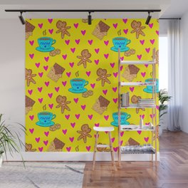 Lovely sweet gingerbread cookies, chocolate bars, cups of hot cocoa, hearts yellow winter pattern Wall Mural