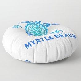 Myrtle Beach South Carolina T-Shirt Sea Blue Tribal Turtle Floor Pillow