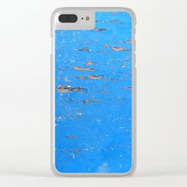 Blue Weathered Painted Wood Board Clear iPhone Case