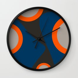 Abstract Shapes Blue and Orange on Black Art Wall Clock