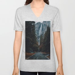 Upper and Lower Yosemite Falls Unisex V-Neck