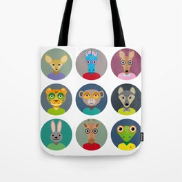 Set of animals faces circle icons set in Trendy Flat Style. zoo Tote Bag