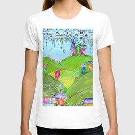 Mixed media doodled town in art journal T-shirt