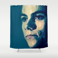 stiles stilinski Shower Curtains featuring ... and ever by Finduilas