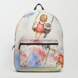 Girl on a Sakura Tree Swing with Cats Backpack
