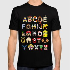Super Mario Alphabet SMALL Mens Fitted Tee Black