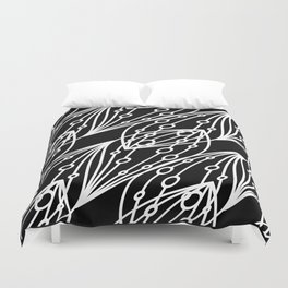 White molecular helix with diagonal circles on a black background. Duvet Cover