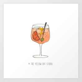 Spritz time ! - Cocktail and cute cat Art Print
