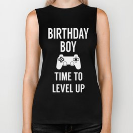 birthday boy time to level up birthday party photography camera Biker Tank