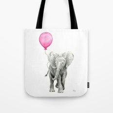 Elephant Watercolor Pink Balloon Whimsical Baby Animal Nursery Girl Art Tote Bag