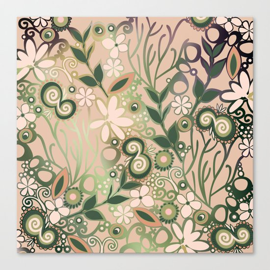 Detailed square of peach and green floral tangle Canvas Print