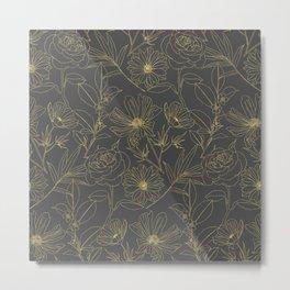 Simple garden flowers gold outlines design Metal Print