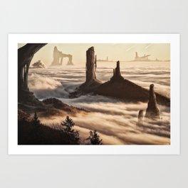 Mountain Citadel Matte Painting Art Print