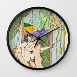 Vintage hand colored nude woman men monkey red heels Wall Clock