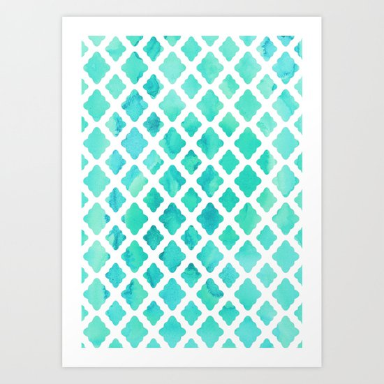 Watercolor Mint Diamonds Art Print