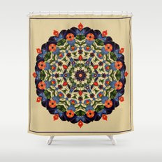 Flower and Fruit Collage Mandala Shower Curtain