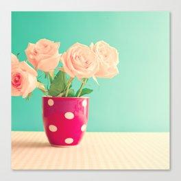 Soft pink roses in polka dots base Canvas Print