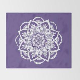 Ultraviolet Flower Mandala Throw Blanket